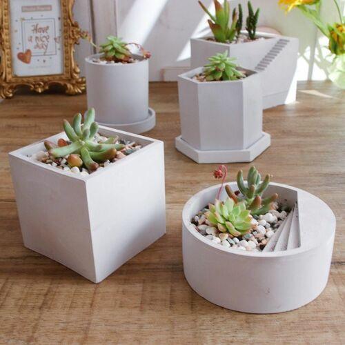 Silicone Molds for Concrete Cement Pots DIY Round Planter Pot Garden Vase