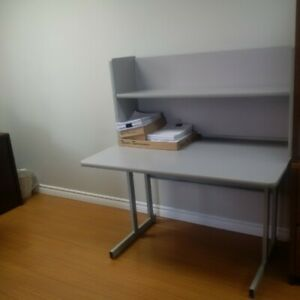 Metal desk with bookshelf