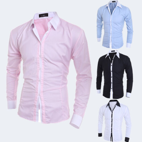 Luxury Men Stylish Casual Long Sleeve Shirt Slim Fit T-Shirts Dress Shirt USA