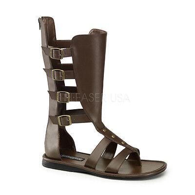 Brown Roman Egyptian Viking Renaissance Fair Costume Lace Up Sandals Boots Mens - Egyptian Shoes Costume