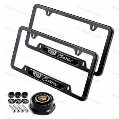 2PCS For CADILLAC Black Stainless Steel License Plate Frame w/ Black Cap Set