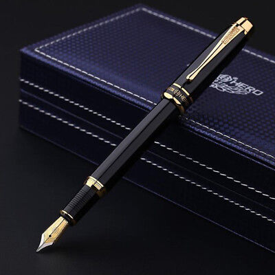 2018 Hero 953 Classic Black Metal China Fountain Pen Fine Nib 0.58mm Box Gifts