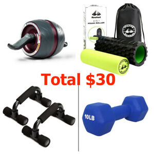 fitness equipments (Pushup Bars Stands, Ab Carver, Foam Roller)
