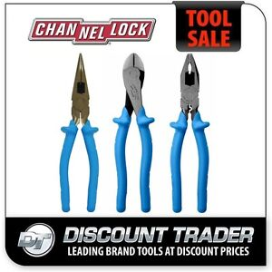 Channellock 1000V Electrician's 3Pc Plier Set Three Pack PG-3 - 3218 3238 3248