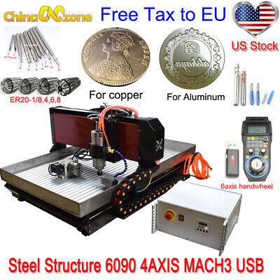 Steelstructure 6090 4axis 2200w Engraver Cnc Machine Mach 3 Usb Router For Metal