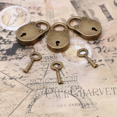 (Lot Of 3) Vintage Antique Style Mini Archaize Padlocks Old Key Lock With key