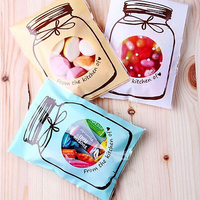 Candy Bags (100Pcs Bottle Candy Bags Design Biscuit  Plastic Seal Wedding Gift Bag)