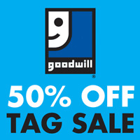 50% off red and white tag sale at Goodwill on Sept 28+29