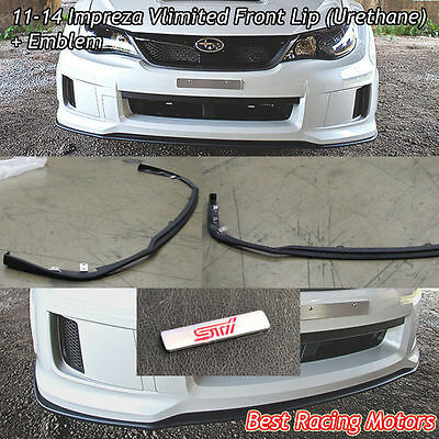 Vlimited Style Front Bumper Lip + Aluminum STi Emblem Fit 11-14 Impreza WRX STi