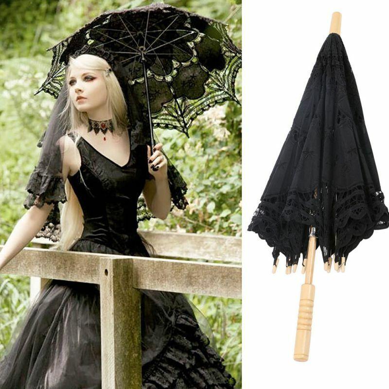 Cotton Lace Handmade Parasol Umbrella Beautiful Vintage For Bridal Wedding Decor