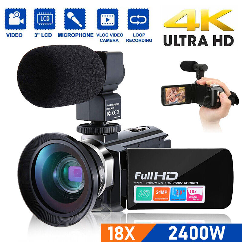 2400W 1080P Digital Video Camera Recorder 18X Zoom Camcorder DV with Microphone