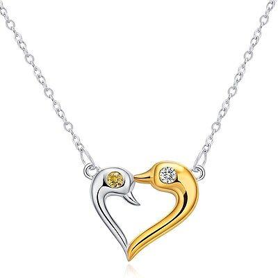 Rhodiniert 925 Sterling Silber Zirkonia Halskette Herzkette STRASS Schmuck Kette