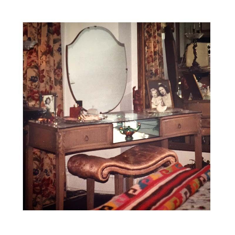 Hamptons Art Deco 1920s Oak Vanity Mirrored Dressing Table & Bench Shabby Chic