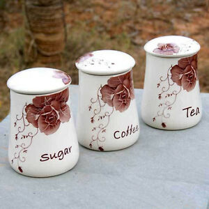 3 piece vintage style kitchen canisters ceramic containers