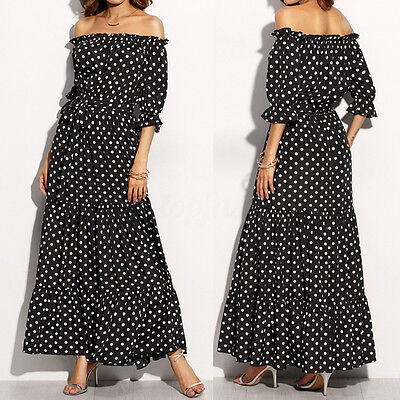 Women Off Shoulder Strapless Polka Dot Long Maxi Dress Ball Gown ...