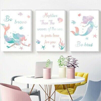 Llittle Mermaid Be Brave Be Kind Canvas Print Home Kids Room Decor Wall Painting