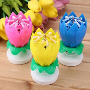 Singing Music Musical Birthday Candles Lotus Flower Sparkler Cake Party For Gift