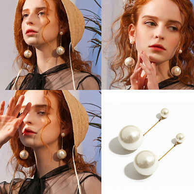 (Charm Women Simple Simulated Pearl Tassel Long Dangle Chain Earrings Party Jewel)