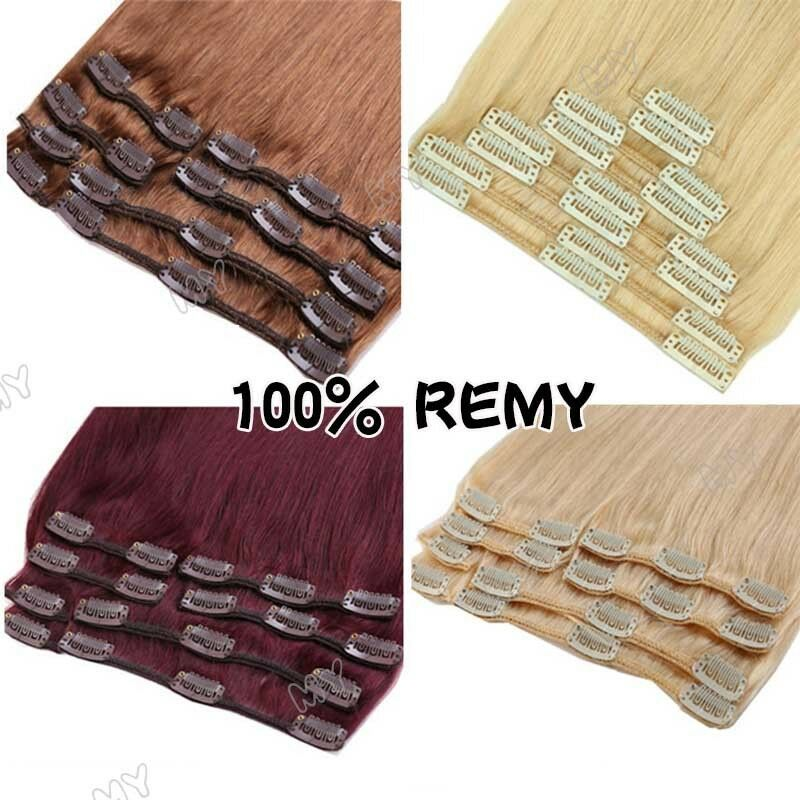 100% Natural Remy Clip in Hair Extensions 8 Pieces Full Head