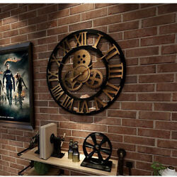 Industrial Gear Wall Clock Big size for living room and meeting room gold color