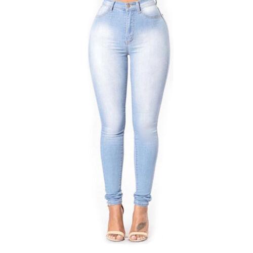 Women High Waisted Denim Skinny Slim Jeans Ladies Stretch Pencil Pants Trousers