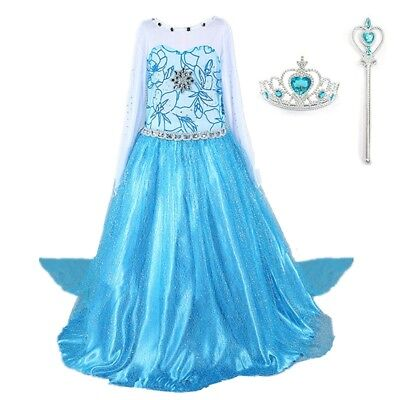 2018 Frozen Elsa Costume Princess Party Girls Dress with Crown and Wand 2-10 Y - Costumes With Dresses