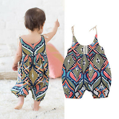 USA Newborn Baby Girl Sleeveless Floral Boho Romper Jumpsuit Clothes Summer 0-2T