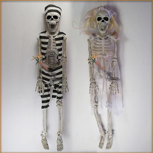 """Spooky Village Halloween Decoration 16"""" Hanging Skeleton PRISONER AND HIS BRIDE."""