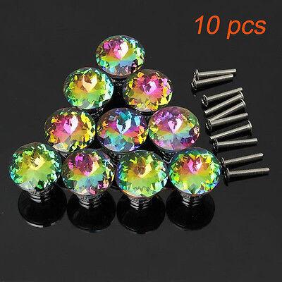 10Pcs Colour Diamond Crystal Glass Door Drawer Cabinet Wardrobe Pull Handle Knob