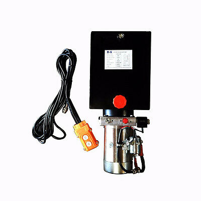 12 Volt Hydraulic Pump For Dump Trailer - 10 Quart Steel - Single Acting