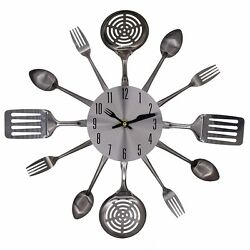 Creative Modern Design Stainless Steel Cutlery Spoons Forks  Wall Clock