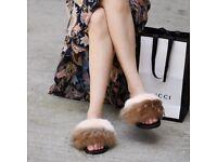 DAYMISFURRY --- Fox Fur Slides - Autumn Leaf