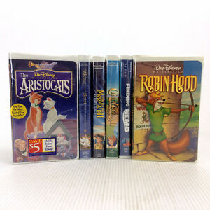 6 Vintage Disney VHS Tapes Robin Hood Aristocats Finding Nemo ++