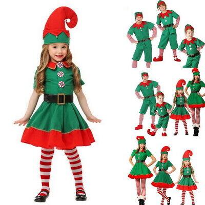 Unisex Weihnachten Kostüm Elfenkostüm Erwachsene Kinder Familien Kostüm Dress (Weihnachten Elf Kostüm Kinder)