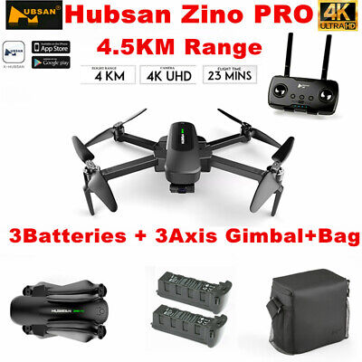 Hubsan Zino PRO APP FPV Quadcopter 5G 4K Drone ---12MP 3Axis Gimbal+3Battery+Bag