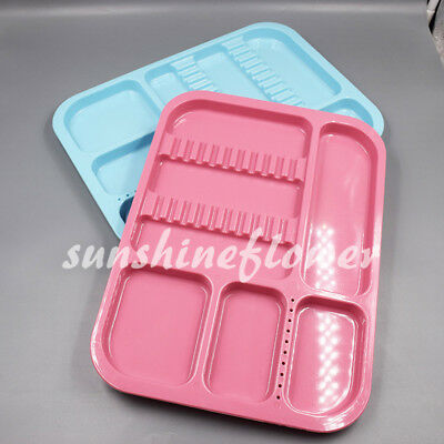2x Dental Autoclavable Instrument Plastic Divided Separate Tray Standard Type