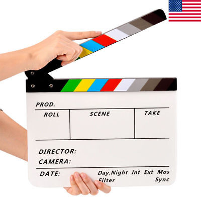 Movie Film TV Slate Clapper Board Dry Erase Clapboard Cut Action Scene Acrylic - Clap Boards