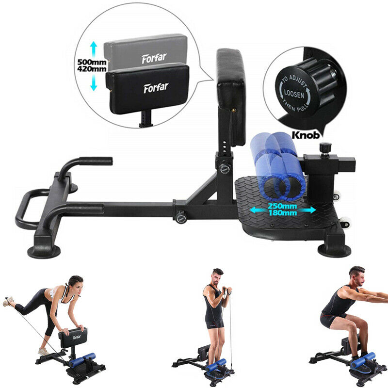 Photo Multi-Functional Deep Sissy Squat Machine Sit Up Push Up Ab Workout Training US