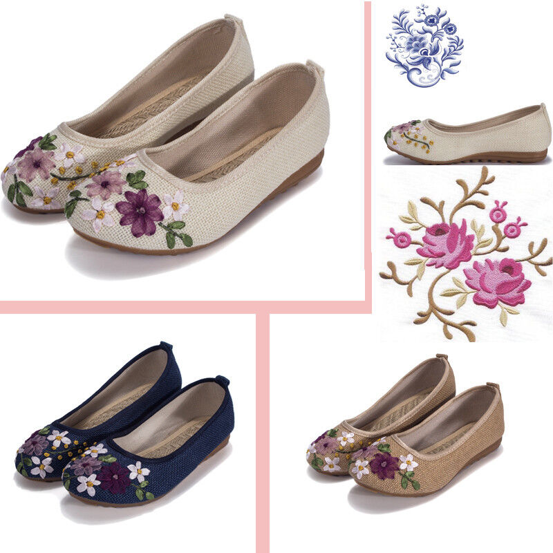 Hot Sale Women's Embroidered Flower Flats Shoes Chinese Slip On Loafers Casual