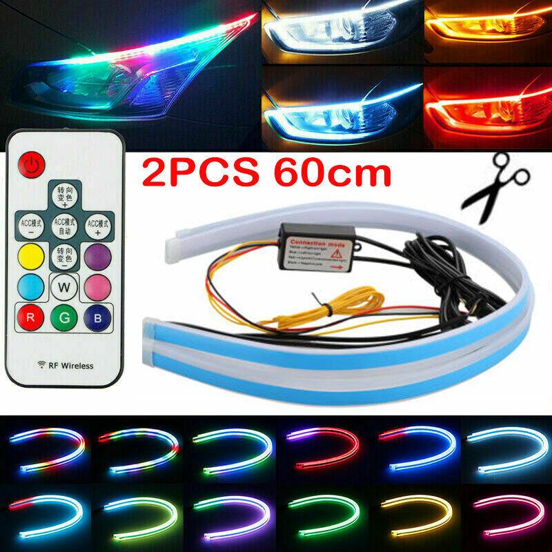 2pcs 60cm RGB Multi-Color Slim Flexible LED Strip Light DRL Flowing Turn Signal