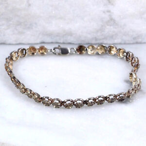 "Sterling Silver 5mm Faceted Link Chain Bracelet (6.75"")"