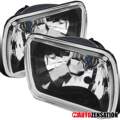7x6 Sealed Beam Crystal Black Clear Square Headlights+H4 (Black Clear Crystal Headlights)