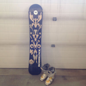 Rossignol snow board with ladies boots