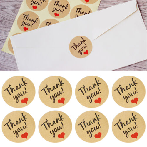 60pcs hand made with love heart sticker kraft paper wedding thank