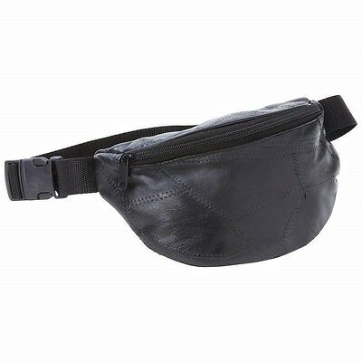 FANNY PACK Black Leather Belt Bag Purse Hip Single Pouch Waist Sports Travel Black Leather Belt Bag