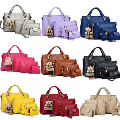 4PCS/Set Women Lady Leather Shoulder Bag Handbag Satchel Clutch Coin Purse - Mint Purse