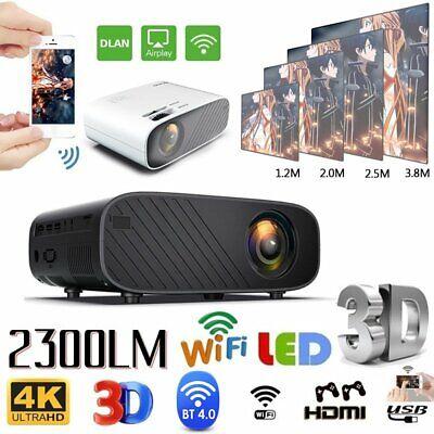 1080P HD WiFi Bluetooth 3D LED Mini Video Projector Home Cinema 23000 Lumens 4K