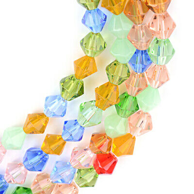 20 Strds Transparent Glass Bicone Beads Faceted Tiny Solid Color Loose Beads (Glass Transparent Square)