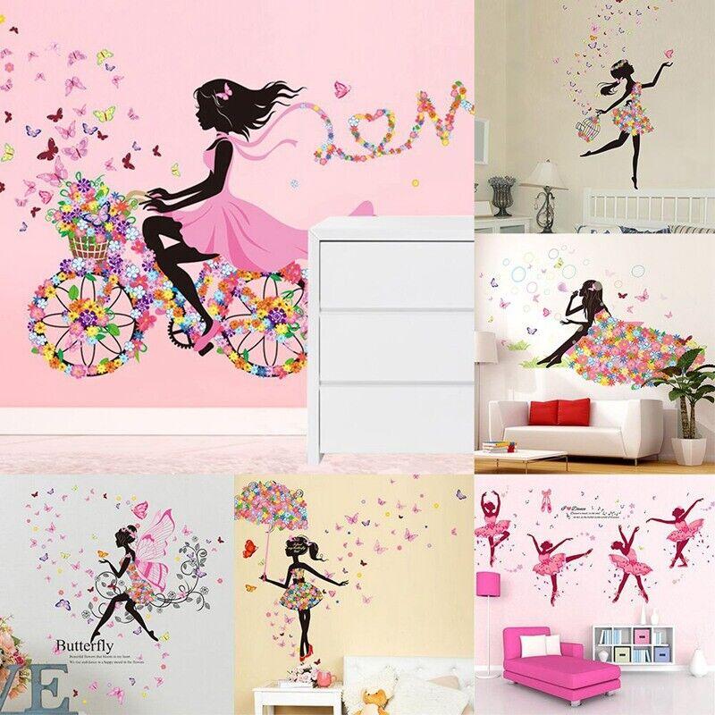 DIY Lovely Girl Art Wall Stickers For Kids Rooms PVC Wall De