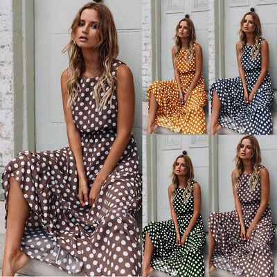 UK Womens Ladies Polka Dot Sleeveless Dress Summer Holiday Long Maxi Dress 10-16